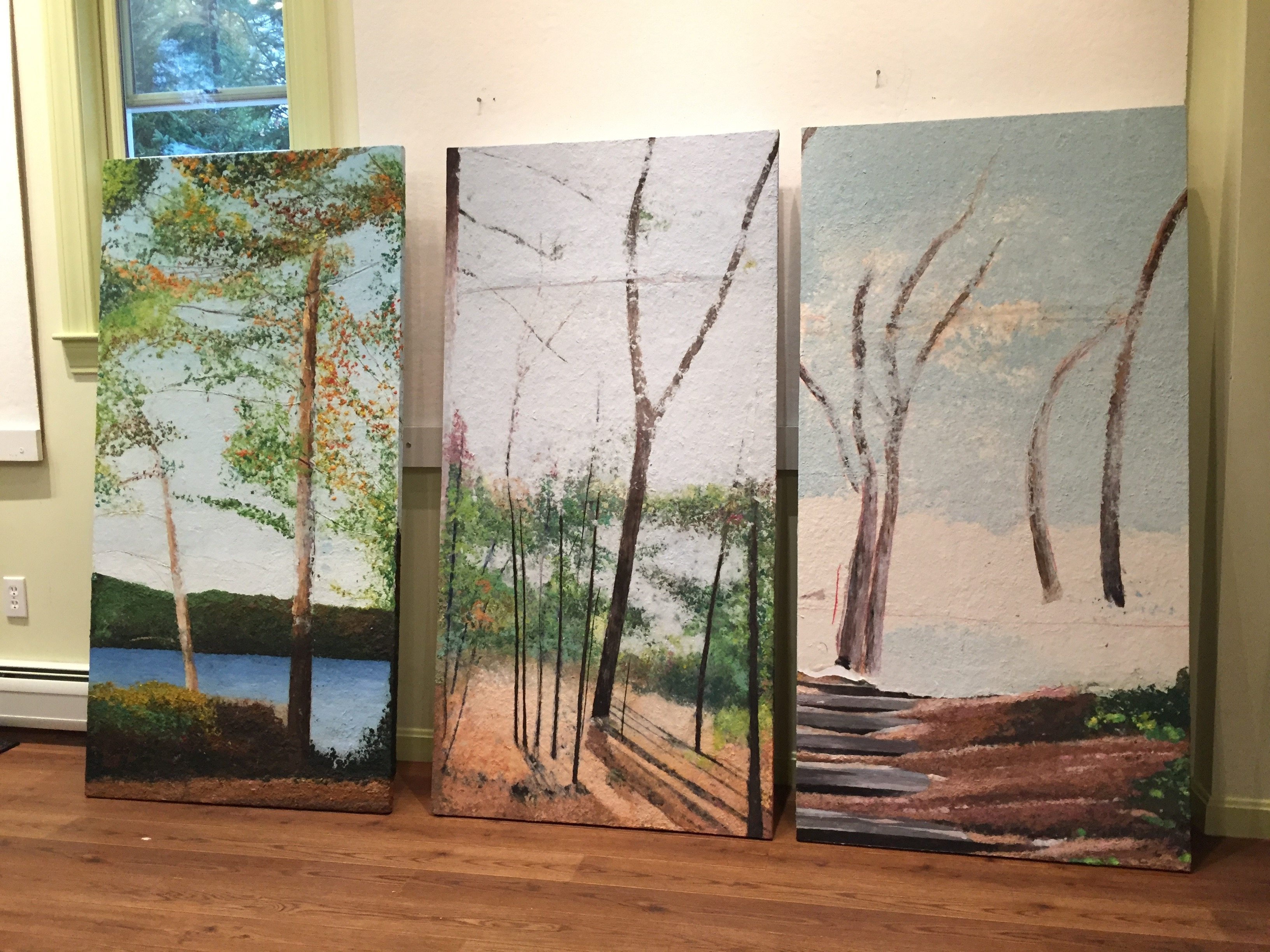 Care Dimensions Commission: The in-progress paintings in my studio